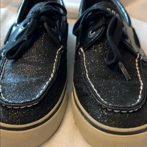 Sparkly black and off white sperry shoes